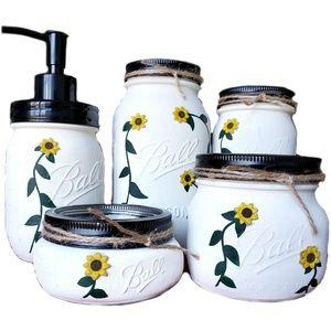 Sunflower Mason Jar Home Decor Handmade Ball Jar